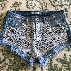 Denim and lace short